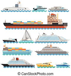 Water Transport Flat Decorative Icons Set - Water transport...