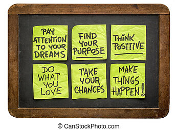 motivational reminders on sticky notes - a set of...