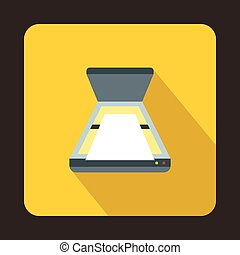 Open scanner icon, flat style - Open scanner icon in flat...