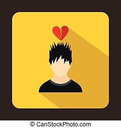 Man with broken red heart over head icon