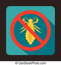 No louse sign icon, flat style - No louse sign icon in flat...