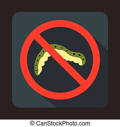 No caterpillar sign icon in flat style on a gray background