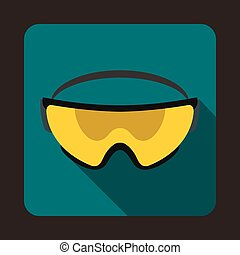 Yellow safety glasses icon, flat style - Yellow safety...