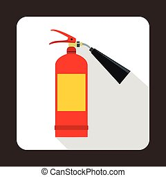 Fire extinguisher icon, flat style - Fire extinguisher icon...