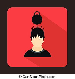 Man with the weight over head icon