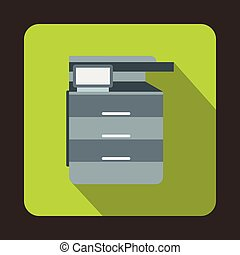 Multipurpose device, fax, copier and scanner icon in flat...
