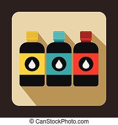 Printer ink bottles icon, flat style - Printer ink bottles...