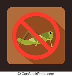 No locust sign icon, flat style - No locust sign icon in...