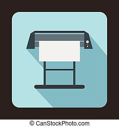 Large format inkjet printer icon, flat style - Large format...