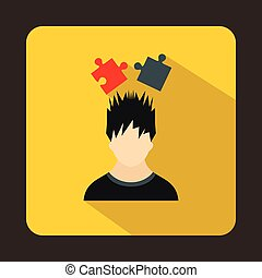 Man with puzzles over head icon, flat style