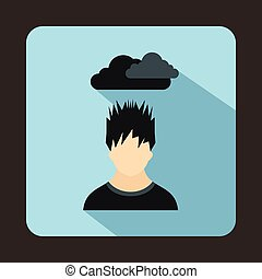 Depressed man with dark cloud over his head icon in flat...