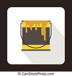 Yellow paint can icon, flat style - Yellow paint can icon in...