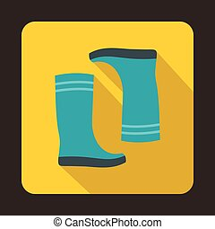 Blue rubber boots icon, flat style - Blue rubber boots icon...
