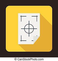 impresora, marcas, en, Un, papel, icono, plano, estilo,