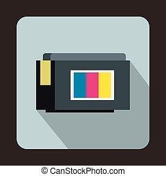 Inkjet printer cartridge icon, flat style - Inkjet printer...