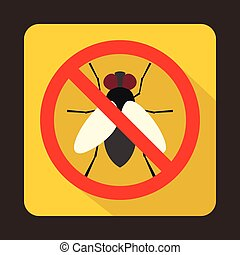 No fly sign icon in flat style on a yellow background