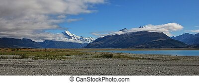 Mt Cook and shore of Lake Pukaki - Distant view of Mt Cook....