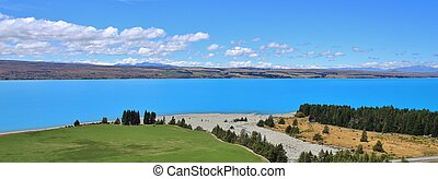 Turquoise Lake Pukaki and river delta - Bright blue Lake...