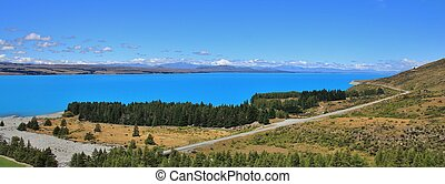 Blue Lake Pukaki - Lake Pukaki. Bright blue lake on the way...