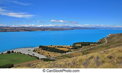Turquoise Lake Pukaki and river delta - Unique colored Lake...