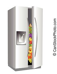fridge on white background - fridge with food isolated on...