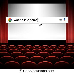 Searching the web for information seances in cinema vector illustration