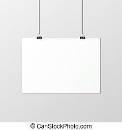 White vertical poster A4 on a rope. - White horizontal...