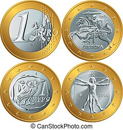 vector money gold coin one euro - Set gold and silver money...