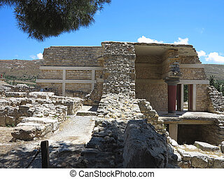 Ruins of the Minoan Palace of Knossos in Heraklion, Crete,...