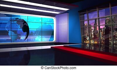 News TV Studio Set 36 - Virtual Green Screen