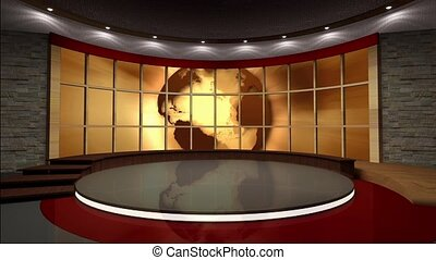 News TV Studio Set 39 - Virtual Green Screen