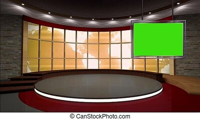 News TV Studio Set 38 - Virtual Green Screen
