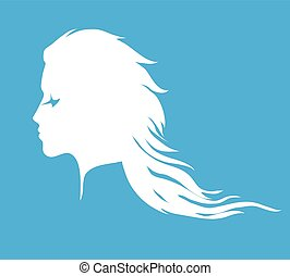 Woman face silhouette with long wavy hair