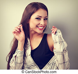 Happy casual toothy laughing woman looking happy VIntage...