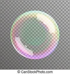 Realistic soap bubble - Soap bubble on black background...
