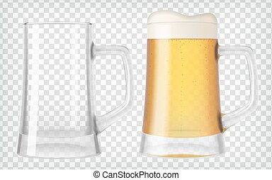 Two beer glasses, one empty and one full. Lager beer....