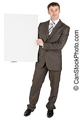 Businessman holding blank white board
