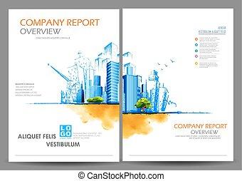 relatório, apresentação, anual, desenho, modelo
