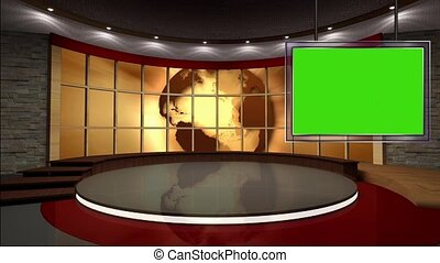 News TV Studio Set 40-Virtual Green Screen