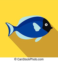 Surgeon fish icon, flat style - Surgeon fish icon in flat...