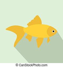 Goldfish icon, flat style - Goldfish icon in flat style with...