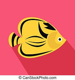 Fish yellow tang icon, flat style - Fish yellow tang icon in...