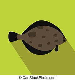 Fish flounder icon, flat style - Fish flounder icon in flat...