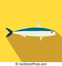 Smelt fish icon, flat style - Smelt fish icon in flat style...