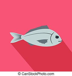 Saltwater fish icon, flat style - Saltwater fish icon in...