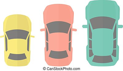 Cars Top View - Flat Design Vector Illustration Of Three...