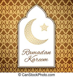 Ramadan Kareem greeting card with half moon and star, gold...