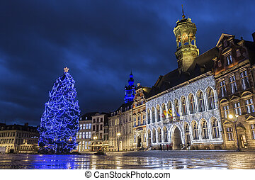 Mons in Belgium - Grand Place with City Hall in Mons in...