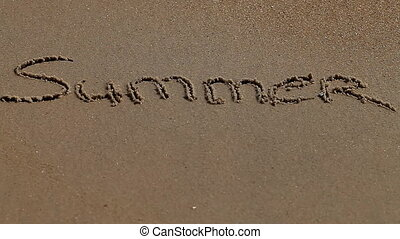 Summer word on sand seacoast - a Summer word on sand...