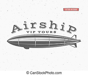 Vintage airship background Retro Dirigible balloon vip tours...